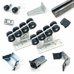 Комплект для сборки откатных ворот весом до 450кг с неоцинкованной шиной 5,3м и полимерными роликами