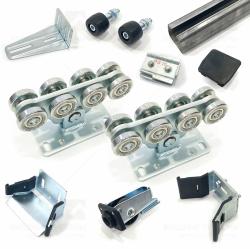 Комплект для сборки откатных ворот весом до 700кг с неоцинкованной шиной 9м и стальными роликами